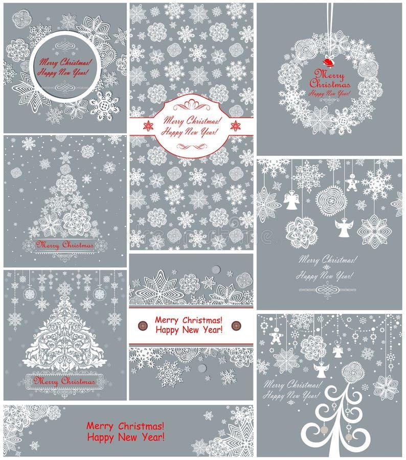 De groetkaarten van pastelkleurkerstmis met document sneeuwvlokken royalty-vrije illustratie
