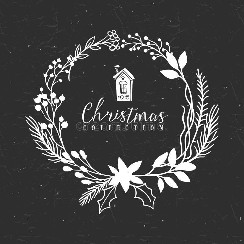 De groetkroon van krijt decoratieve Kerstmis met huis royalty-vrije illustratie