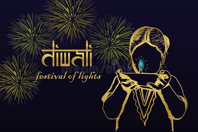 De groetontwerp van het Diwalifestival met hand getrokken Indisch de holding van het kindmeisje het branden diya en vuurwerk Vect vector illustratie
