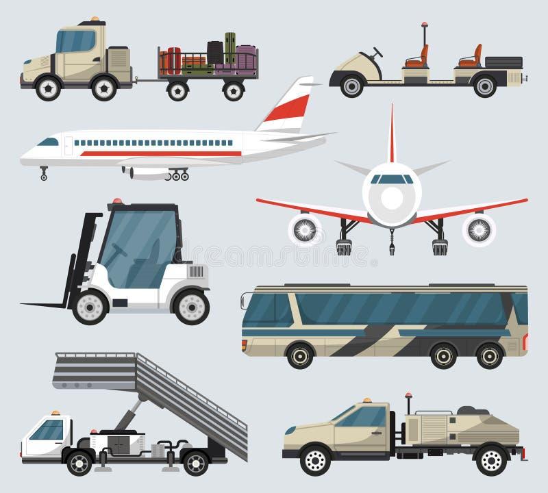 De grondtechnieken geïsoleerde reeks van de passagiersluchthaven royalty-vrije illustratie