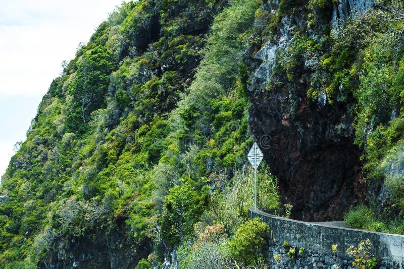 De grondverschuiving nam kustweg in Porto Moniz op de Noordwestenkust waar de Bergen in het noorden van het Eiland Madera royalty-vrije stock foto's