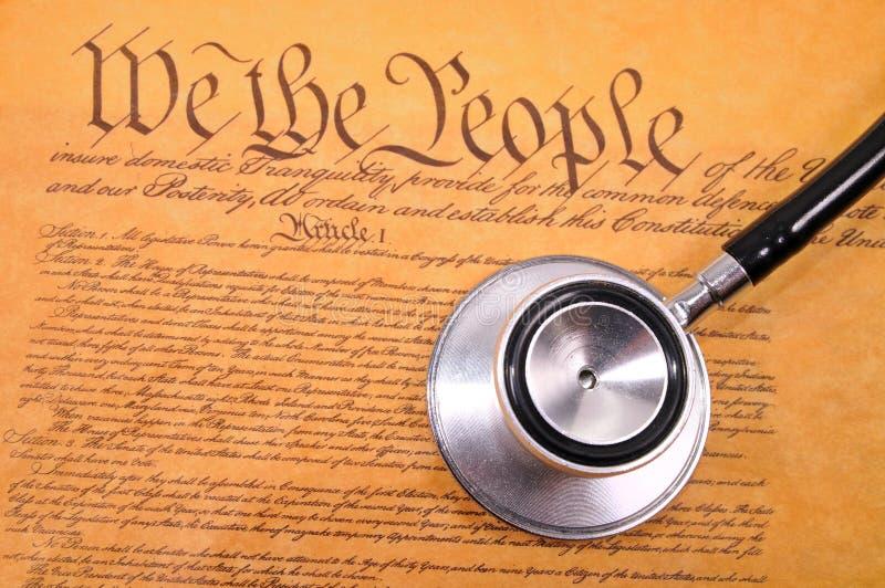 De Grondwet en de stethoscoop van de V.S. royalty-vrije stock afbeelding