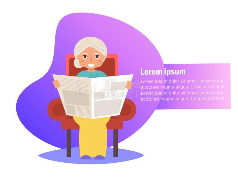De grootmoeder leest krant in zijn stoelvector beeldverhaal vector illustratie