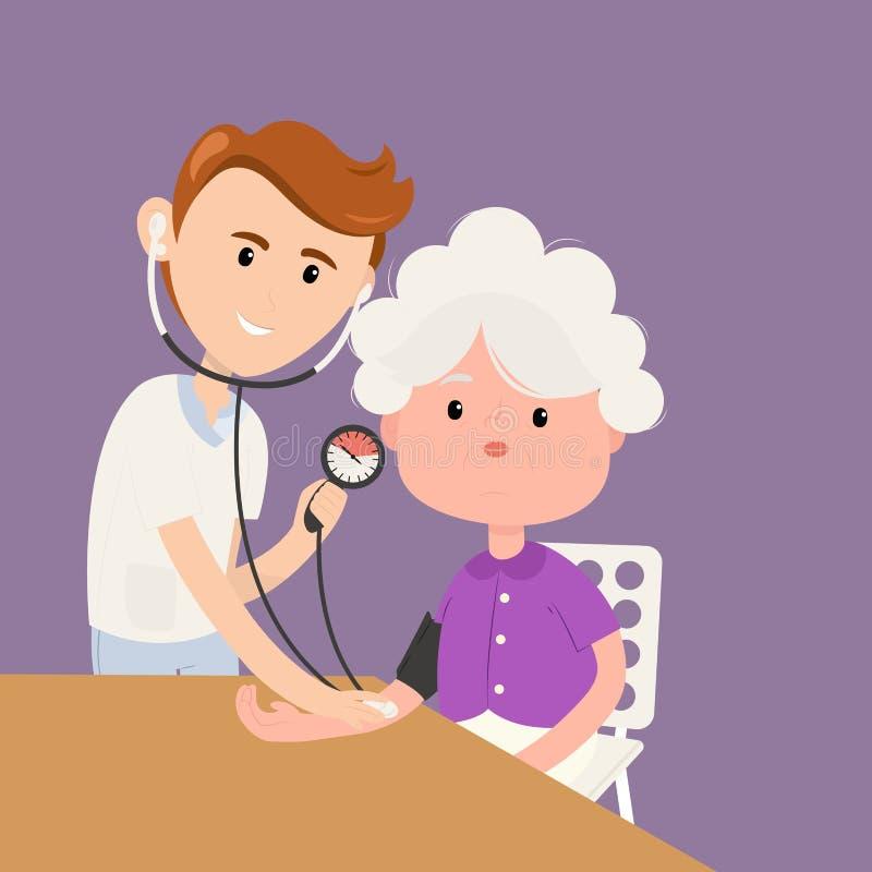 De grootmoeder meet druk met arts in kliniek vector illustratie