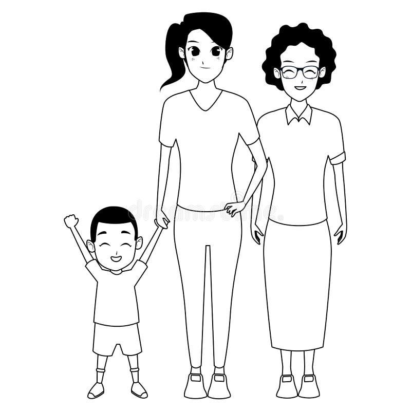 De grootmoeder van familieafro met dochter en kleindochter in zwart-wit vector illustratie