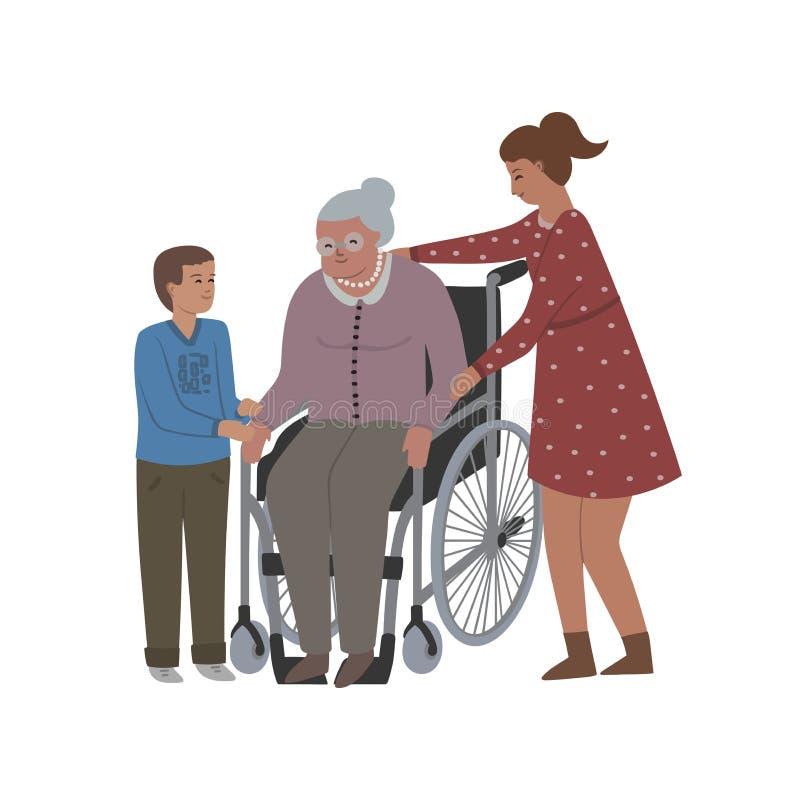 De grootmoeder zit in rolstoel en haar kleinkinderen nemen zorg over haar Geïsoleerdj op witte achtergrond royalty-vrije illustratie