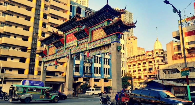 De grootste Chinese Arch ter wereld Locatie: Binondo Manila, Filipijnen stock afbeelding