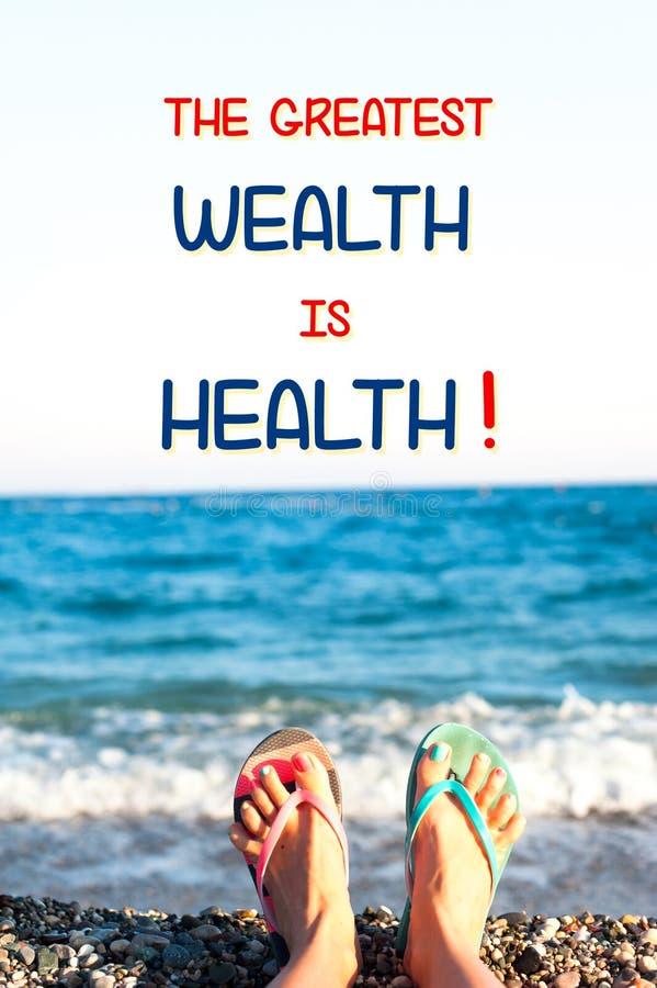 De grootste rijkdom is gezondheid Motieven Inspirational citaat royalty-vrije stock foto