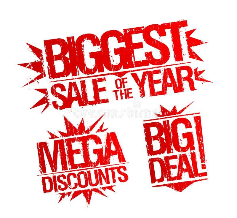 De grootste verkoop van de jaarzegel, megakortingen stempelt, grote overeenkomstenzegel royalty-vrije illustratie