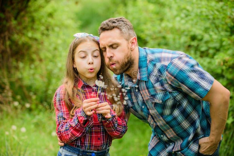 De grootste vragen van de stuifmeelallergie Het vadermeisje geniet van zomer Papa en dochter blazende paardebloemzaden houd stock foto's