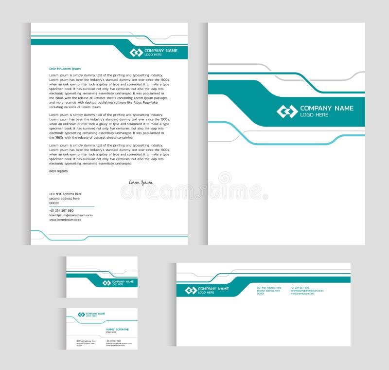 De groottea4 dekking van het lay-outmalplaatje, paginaadreskaartje en brief - Groen lijn scherp abstract Vector vastgesteld ontwe royalty-vrije illustratie