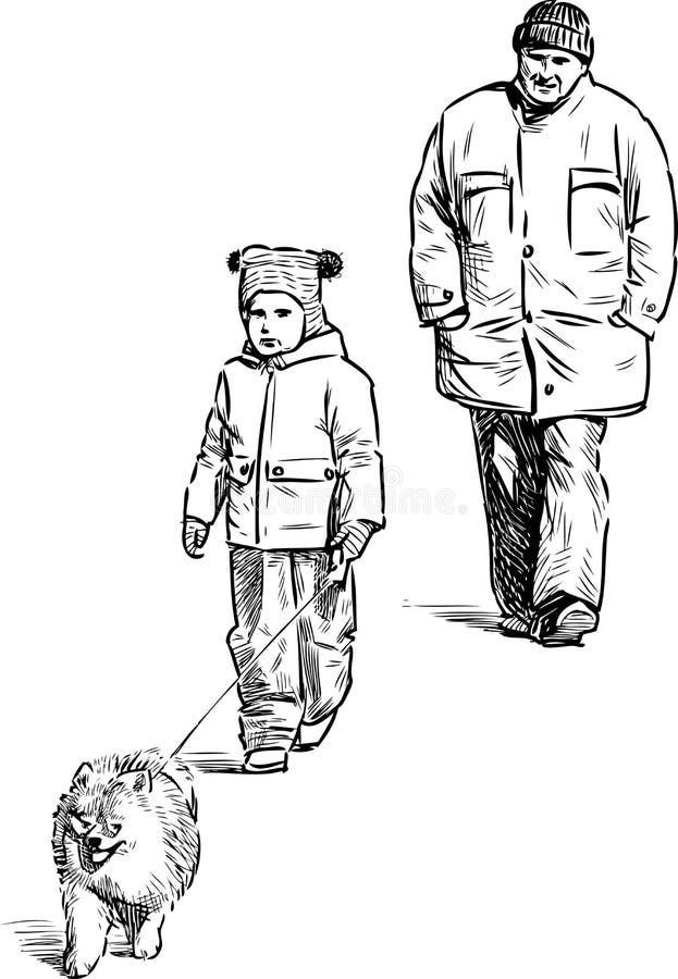 De grootvader en de kleinzoon gaan voor een gang royalty-vrije illustratie