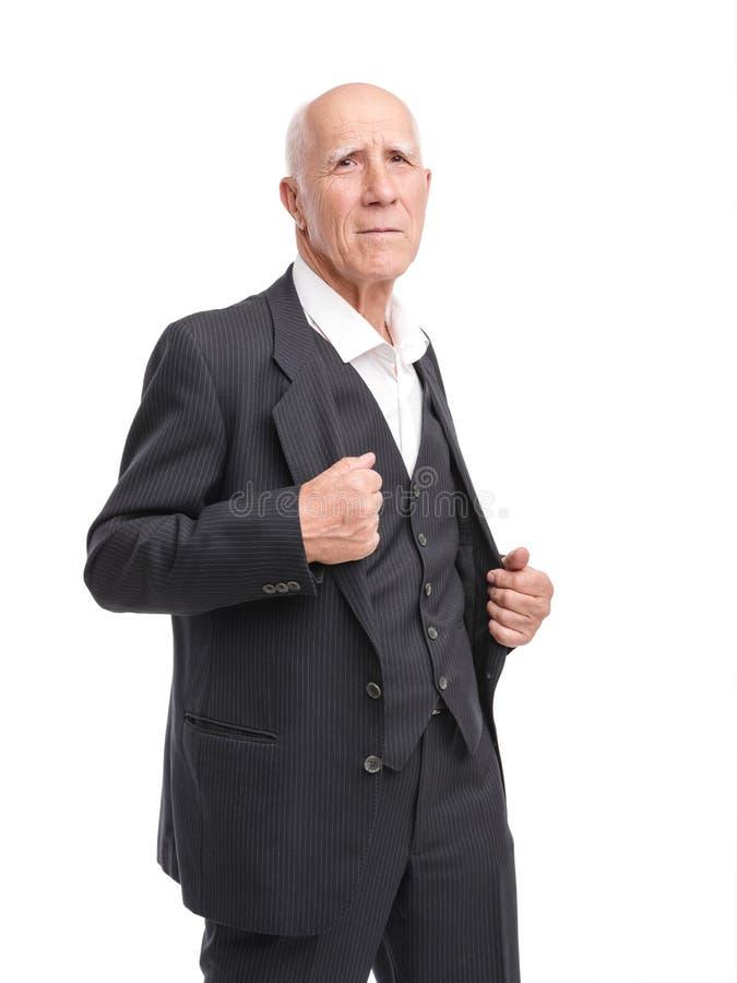 De grootvader maakt kostuum status helft-gedraaid op wit geïsoleerde achtergrond recht royalty-vrije stock foto