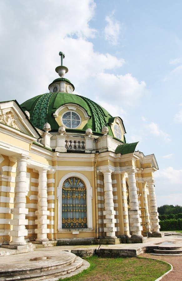 De Grot in de manor ` Kuskovo `, Moskou van Sheremetev ` s stock afbeelding