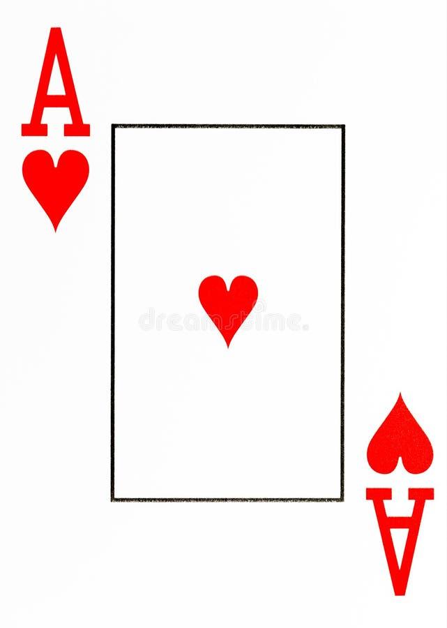 De grote aas van de indexspeelkaart van harten royalty-vrije illustratie