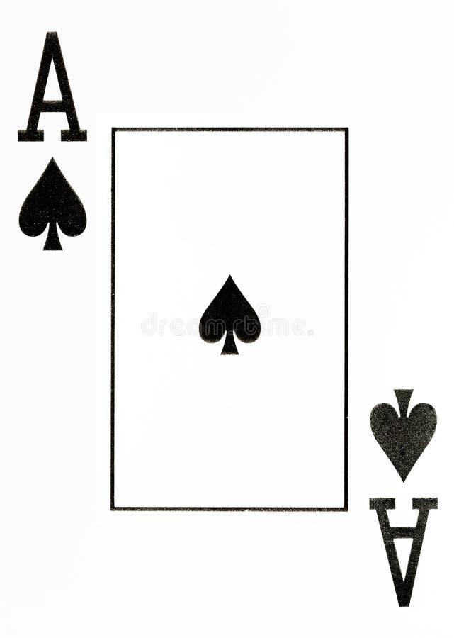 De grote aas van de indexspeelkaart van spades stock afbeeldingen