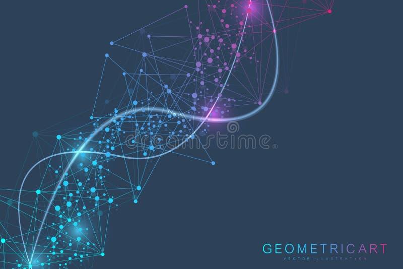De grote achtergrond van de gegevensvisualisatie Moderne futuristische virtuele abstracte achtergrond Het patroon van het wetensc royalty-vrije illustratie