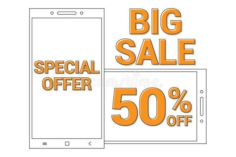 De grote achtergrond van de verkoop Promotiebanner met de smartphone van de lijnkunst voor Speciale verkoop biedt weg 50% aan stock illustratie