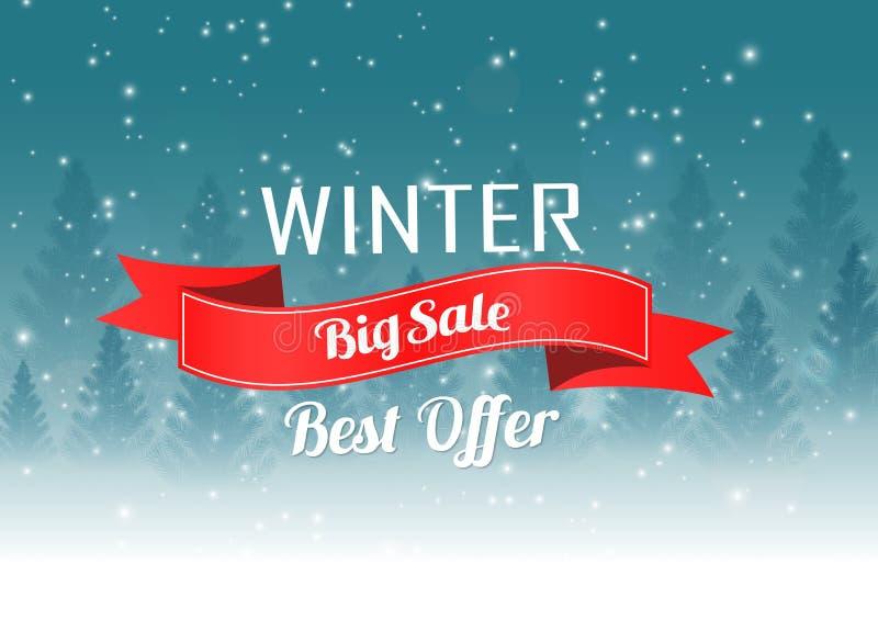De grote affiche van de de winterverkoop met het landschapsachtergrond van de Kerstmiswinter vector illustratie