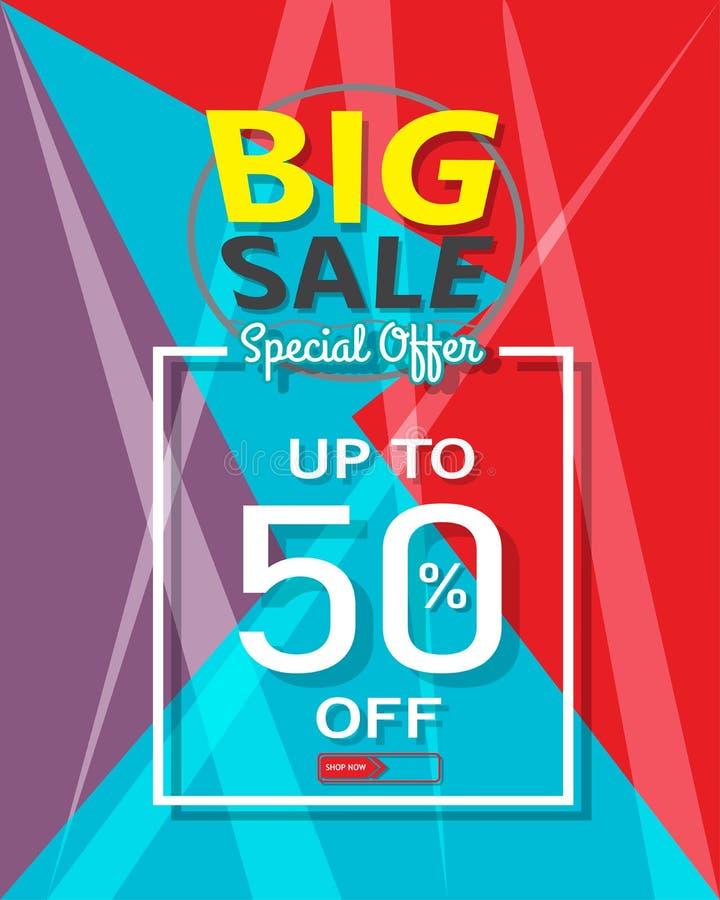 De grote banner van het verkoopmalplaatje, Speciale aanbieding bij korting tot 50% weg stock illustratie