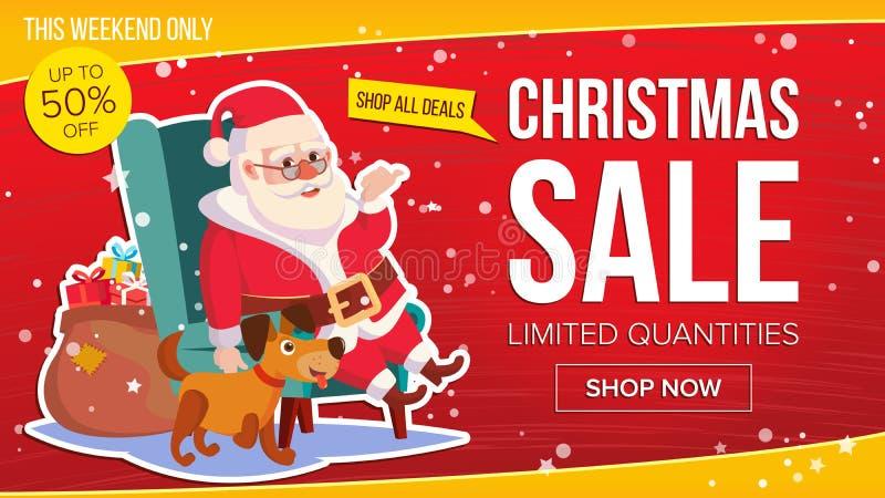 De grote Banner van de Kerstmisverkoop met Gelukkige Santa Claus Vector Bedrijfs Reclameillustratie Malplaatjeontwerp voor Web vector illustratie