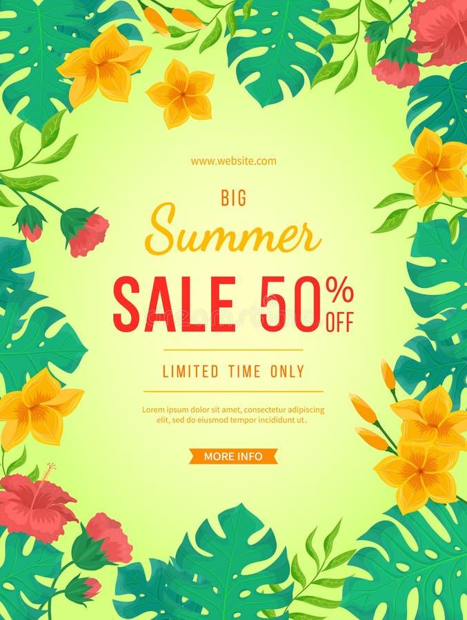 De grote banner van de de zomerverkoop Bloemen en knoppen van hibiscus, bladerenmonstera en palm Het tropische exotische ontwerp  stock illustratie