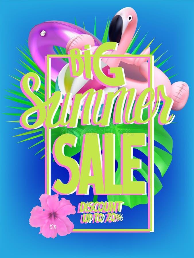 De grote banner van de de zomerverkoop met opblaasbaar speelgoed en tropische bladeren vector illustratie