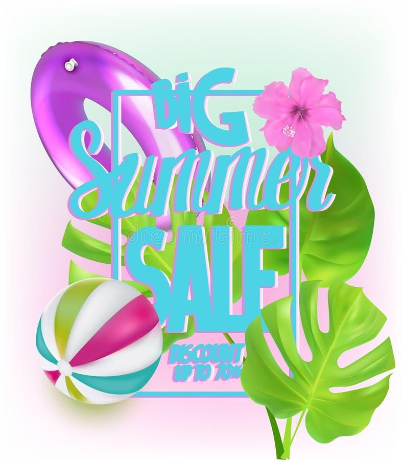 De grote banner van de de zomerverkoop met opblaasbaar speelgoed voor zwembad en tropische bladeren royalty-vrije illustratie