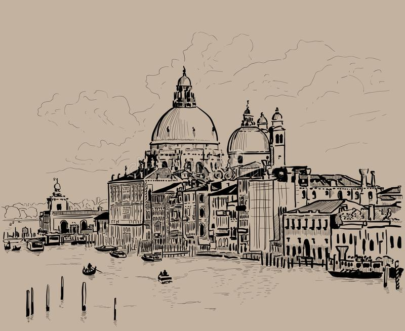 De grote Begroeting van della van Santa Maria van het Kanaal en van de Basiliek, Venetië, Italië inkt De digitale Tekening van de stock illustratie