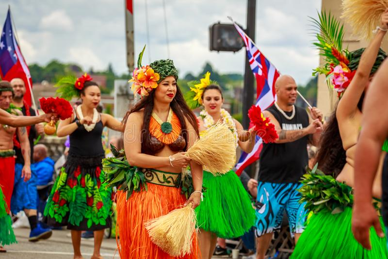 De Grote Bloemenparade 2019 van Portland stock foto's