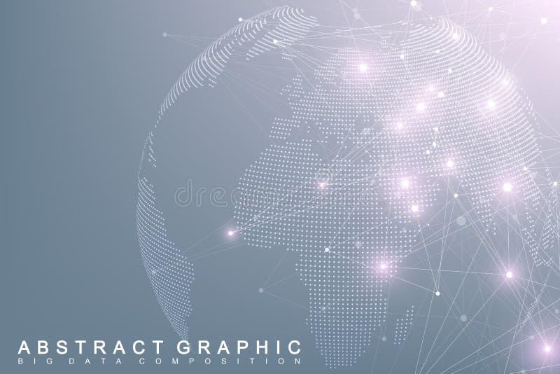 De grote bol van de gegevens complexe wereld Grafische abstracte mededeling als achtergrond Perspectiefachtergrond van diepte Vir royalty-vrije illustratie