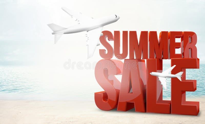 De grote 3d vakantie van het de zomerstrand van het verkoopvliegtuig geeft terug royalty-vrije illustratie