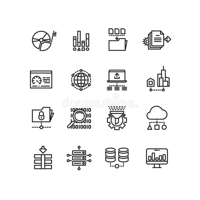 De grote de technologiediensten van de gegevenswolk verdunnen lijn vectorpictogrammen vector illustratie