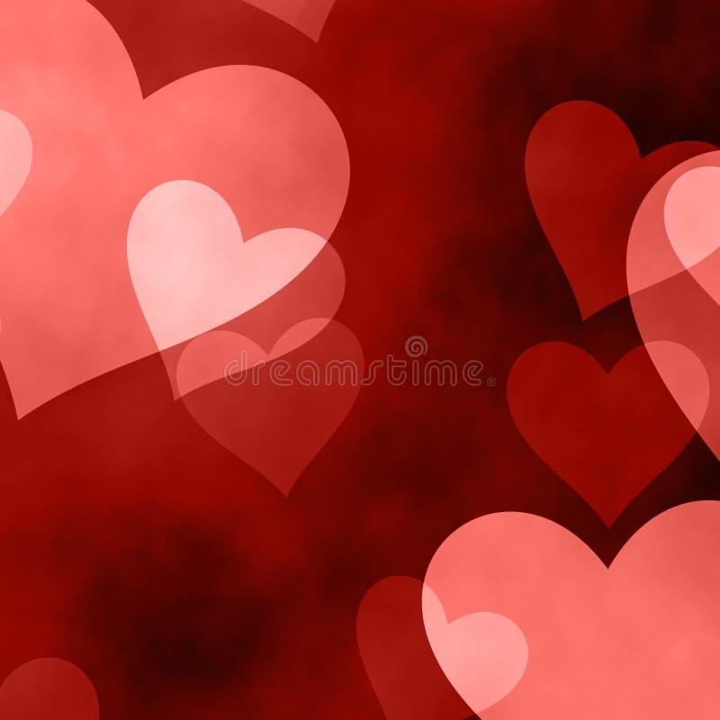 De grote en kleine rode en roze harten op rode achtergrond stock illustratie