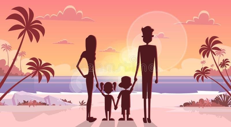 De grote Familiegreep overhandigt van de Overzeese van de Zonsondergangvakantie de Vakantieouders Kustzomer met Twee Kinderen vector illustratie