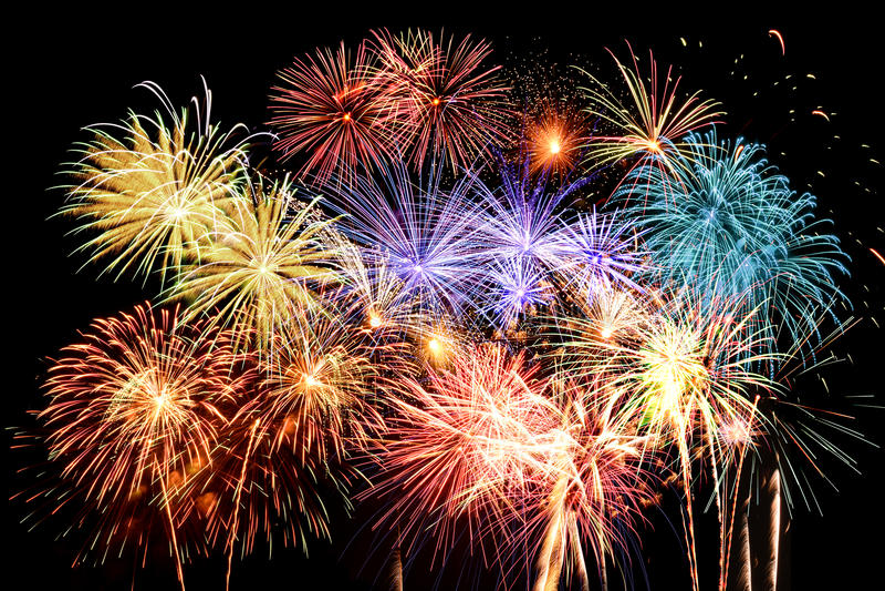 De Grote Finale van het vuurwerk royalty-vrije stock foto's