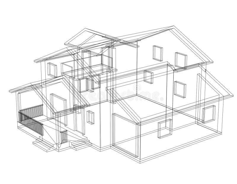 De grote geïsoleerde blauwdruk van de Huisarchitect - stock illustratie