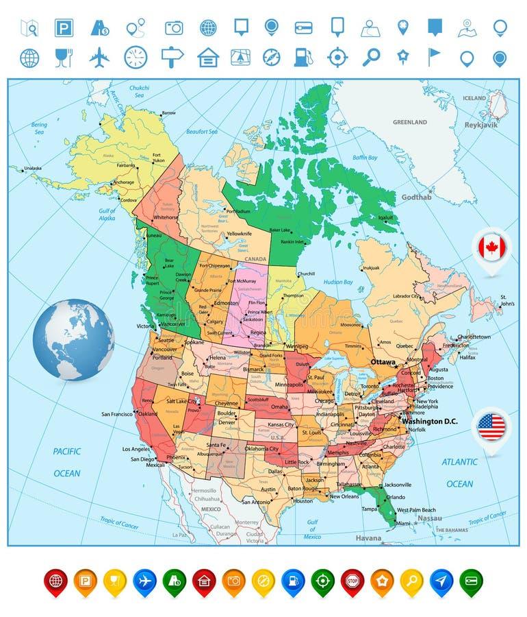 De grote gedetailleerde politieke kaart van de V.S. en van Canada en kleurrijke kaartwijzers vector illustratie