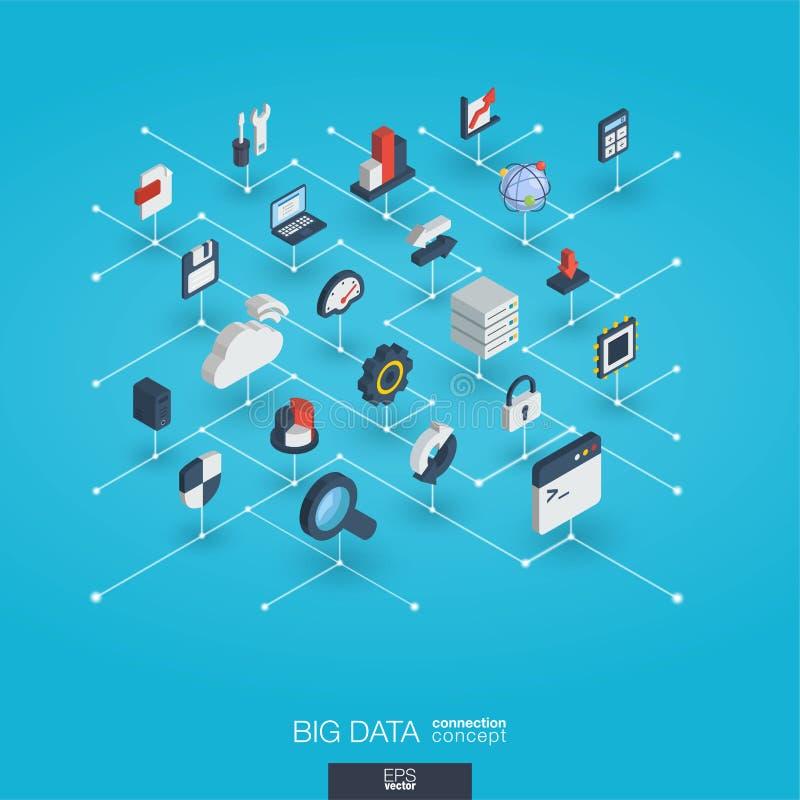 De grote gegevens integreerden 3d Webpictogrammen Het digitale isometrische netwerk werkt concept op elkaar in royalty-vrije illustratie