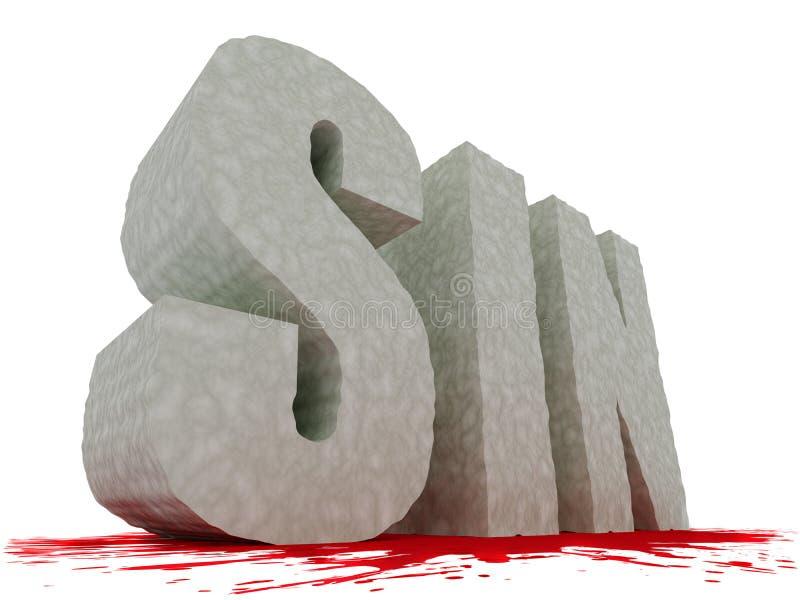 De grote geweven tekst van de ZONDE met bloed onderaan vector illustratie
