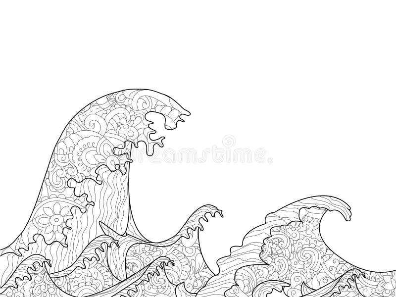 De Grote Golf van het kleurende boek van Kanagawa voor volwassenenrooster stock illustratie