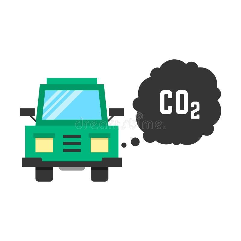 De grote groene vrachtwagen zendt kooldioxide uit vector illustratie