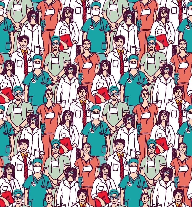 De grote groep kleur van het artsen naadloze patroon vector illustratie