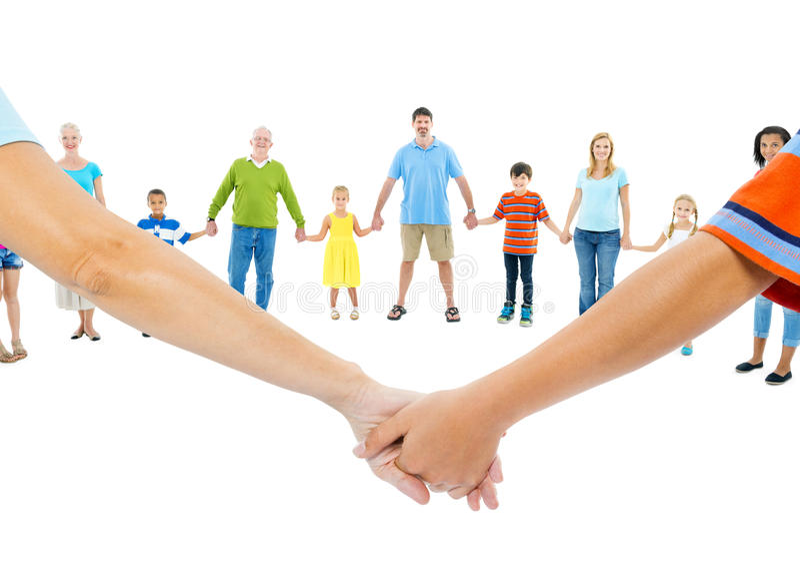 De grote Hand van de Groeps Mensen Holding stock afbeelding
