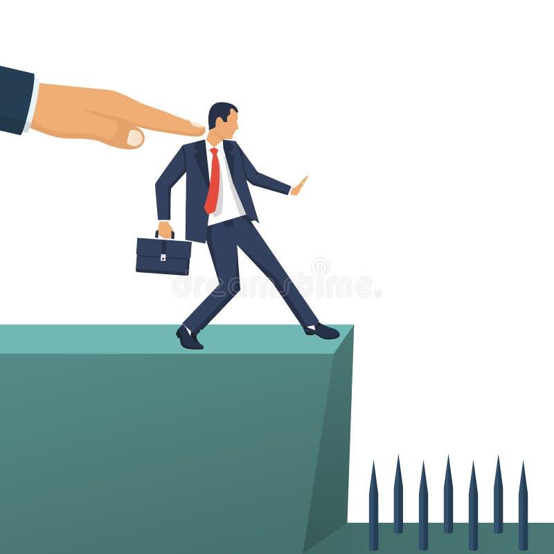 De grote hand van leider duwt ondergeschikte werknemer in kloof stock illustratie