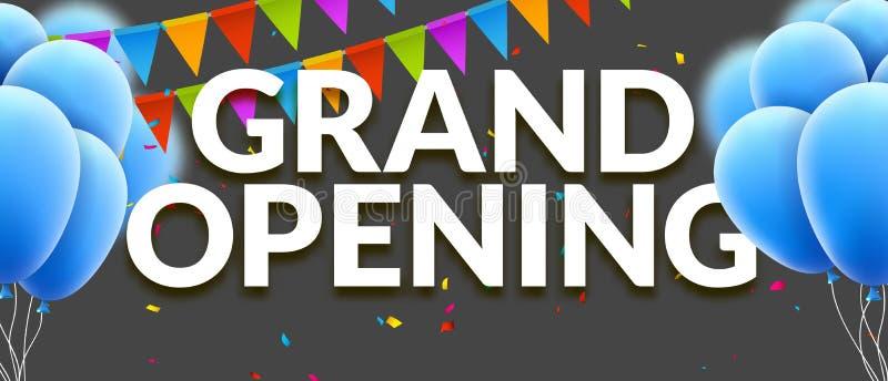 De grote het Openen banner van de gebeurtenisuitnodiging met ballons en confettien Het grote Openingsontwerp van het affichemalpl vector illustratie