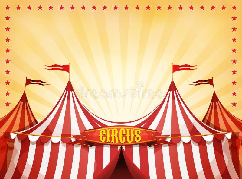 De grote Hoogste Achtergrond van het Circus met Banner stock illustratie