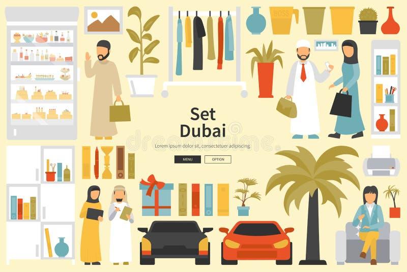 De Grote Inzameling van Doubai in vlak ontwerpconcept Meubilair en Mensen Geplaatst Binnenlandse Elementen vector illustratie