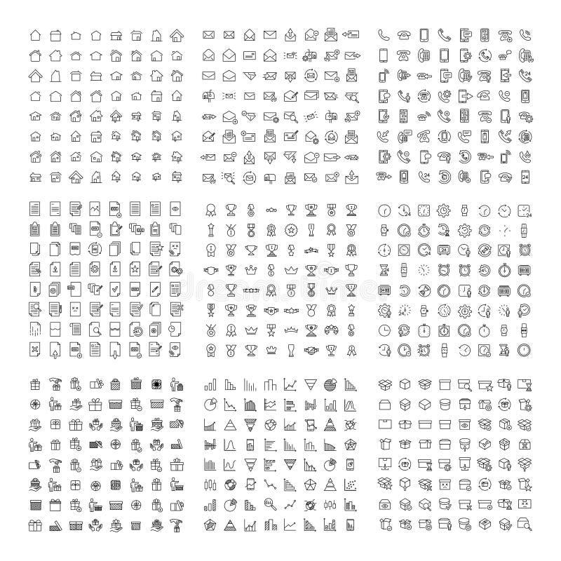 De grote inzameling van 9 reeksen verdunt lijnpictogram royalty-vrije illustratie