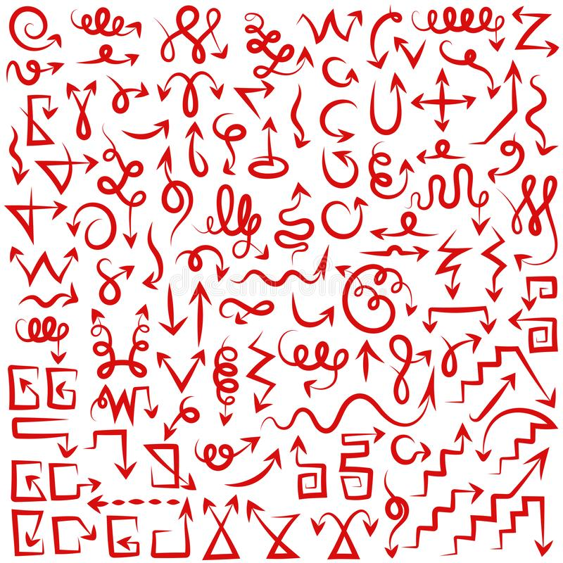 De grote inzameling van verschillende pijlen borstelt rood vector illustratie